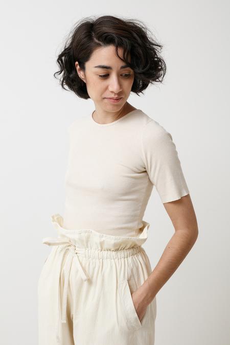 Lauren Manoogian Cashmere Rib Tee - bone