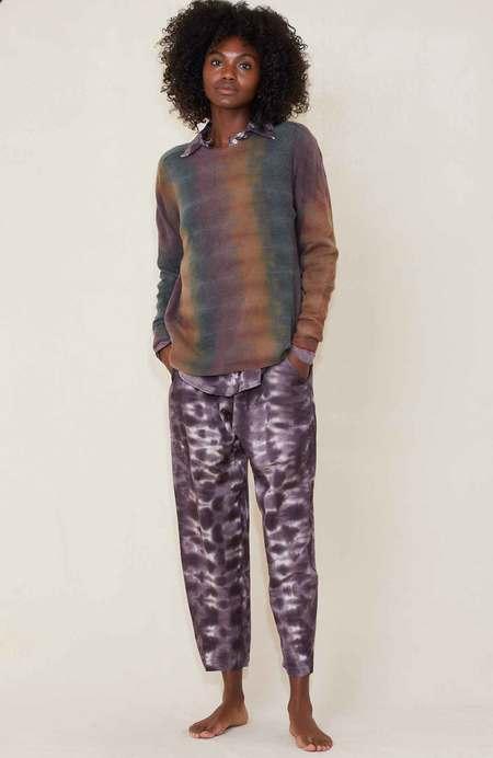 Raquel Allegra Cashmere Crew - Dusty Rainbow Tie Dye