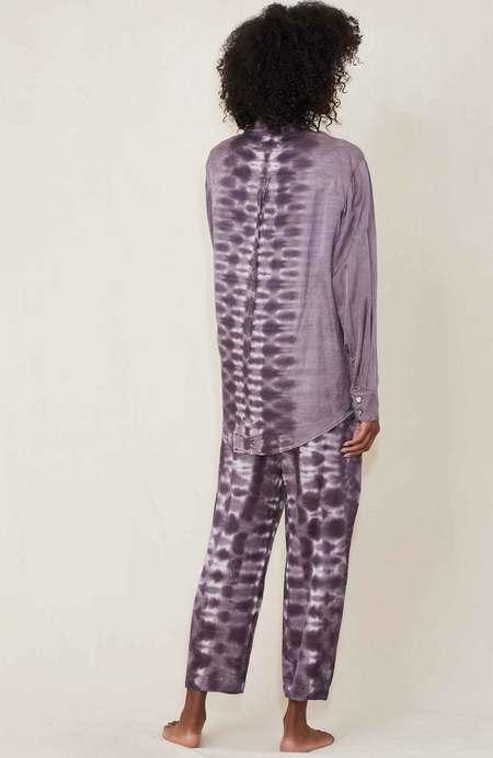 Raquel Allegra Classic Shirt Dress - Mauve Tie Dye
