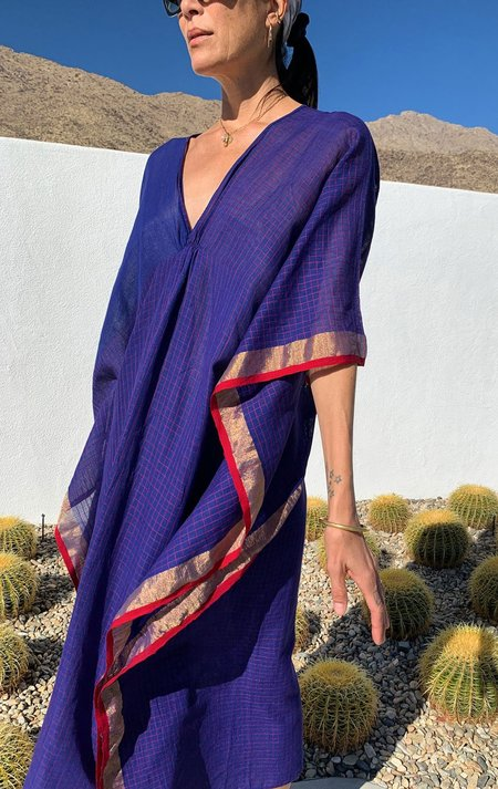 Two sari caftan with graph - deep blue