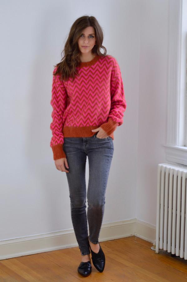 Designer's Remix Fundy Sweater Neon Pink/Caramel