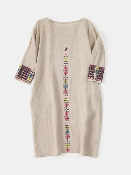 Erica Tanov Ines  Linen Dress - Embroidered Natural