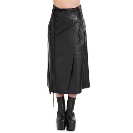AMBUSH Leather wrap skirt - black