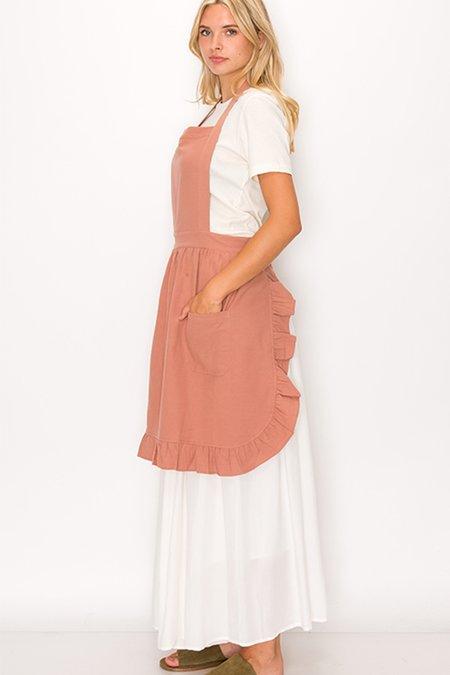 139 project Cotton Ruffle Apron & Dish Cloth Set - Dusty pink