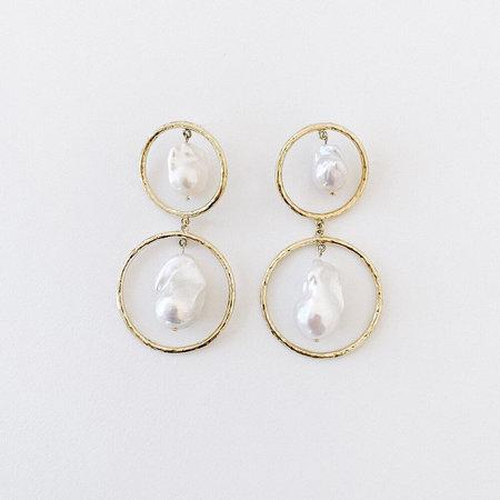 Crescioni double disc earrings - brass/silver/pearl