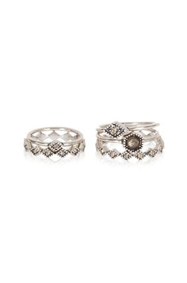 Luv Aj Silver Full Bloom Ring Set