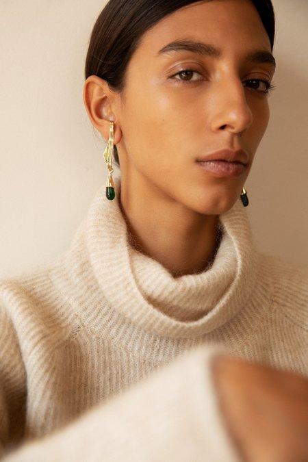 Leigh Miller Grape Leaf Earrings - Brass/sterling silver/Czech glass