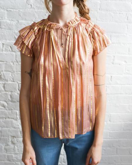 [Pre-loved] Ulla Johnson Metallic Blouse - Blush