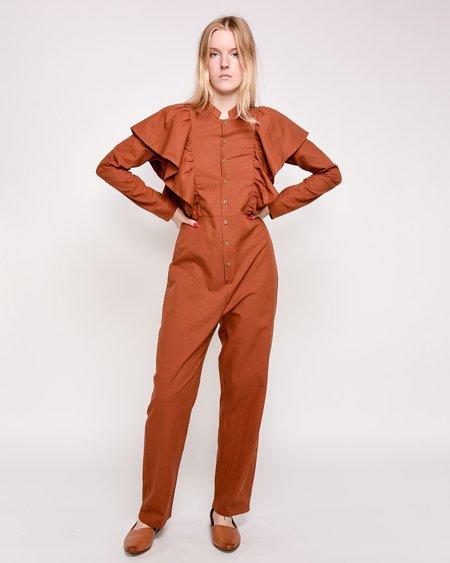 Rita Row Lola Ruffled Jumpsuit - Orange Microchecks
