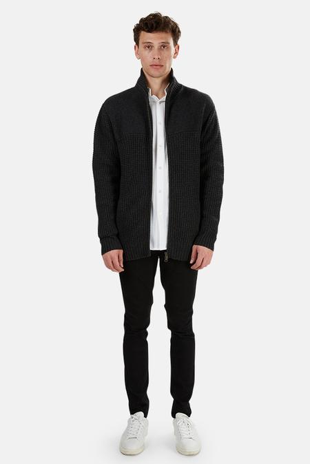 Blue&Cream Chunky Full Zip Sweater Jacket - Charcoal