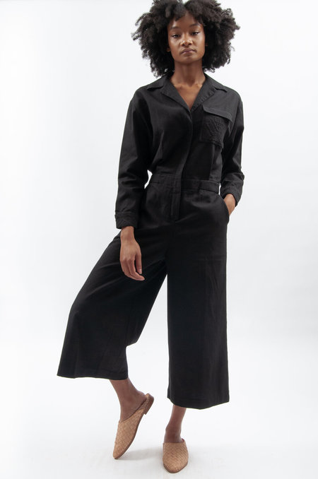 Rujuta Sheth Utility Jumper in Cotton - Black