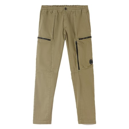 C.P. Company Garment Dyed Stretch Sateen Lens Pocket Track Pants - Green