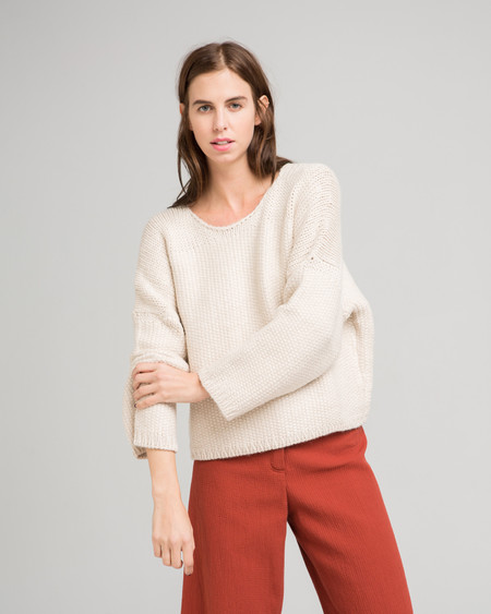Micaela Greg Woven Stitch Alpaca Sweater