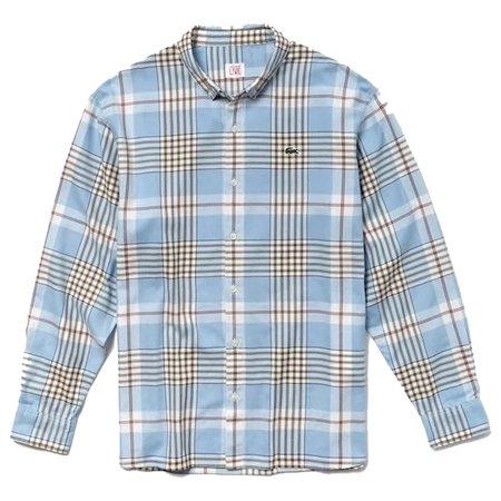 Lacoste LIVE Boxy Fit Check Poplin Shirt - Blue/White/Black