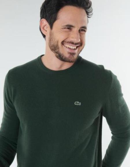 Lacoste AH0841 Men's Crew Neck Pullover Wool Sweater - Vert