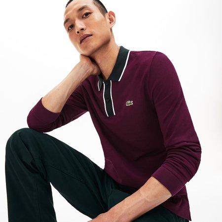 Lacoste Regular Fit Cotton Piqué Polo Shirt - Bordeaux/White/Green