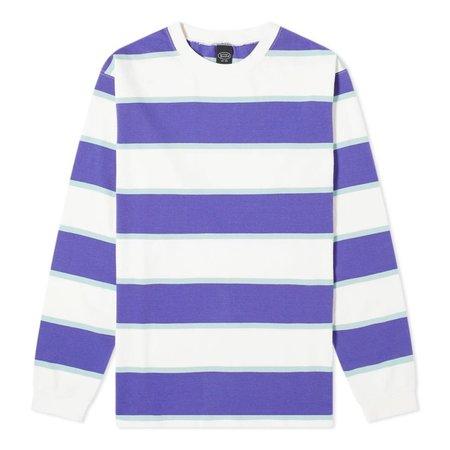 Manastash Long Sleeve Rugby Stripe T-Shirt - White/Purple