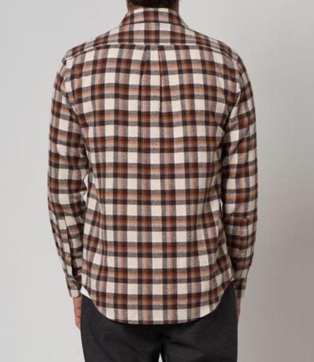 PORTUGUESE FLANNEL BROWNIE shirt - Brown/cream/Orange