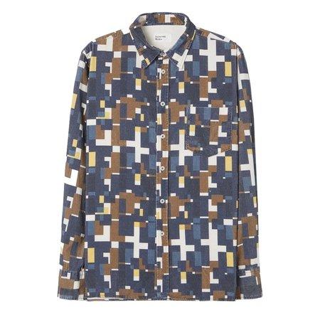 Universal Works Square Printed Cord Standard Shirt - Navy