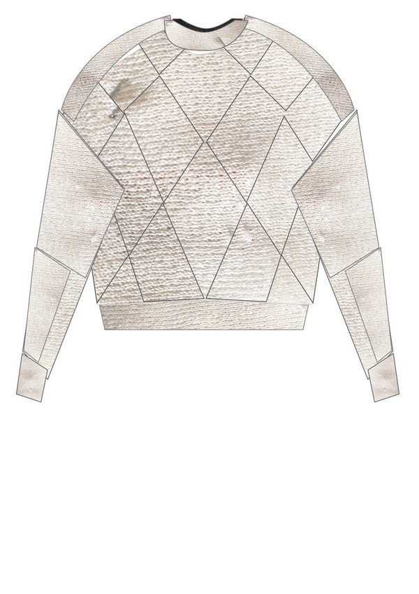Berenik SWEATER PATCHWORK KNIT WHITE