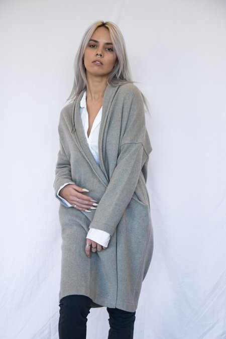 Evam Eva Long Sleeve Cashmere Cardigan - Gray