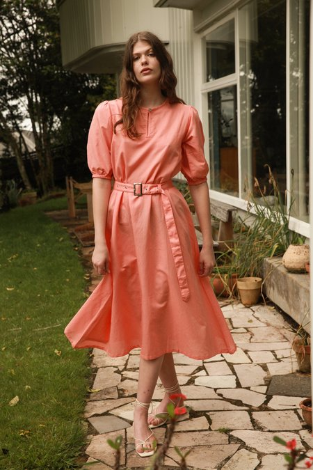 Barebones Puff Sleeve Dress - Watermelon