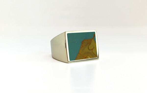 Unisex Legier Owyhee Picture Stone Signet Ring