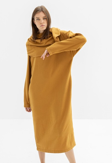 Black Crane Shell Dress - Khaki