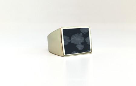 Unisex Legier Snowflake Obsidian Stone Signet Ring