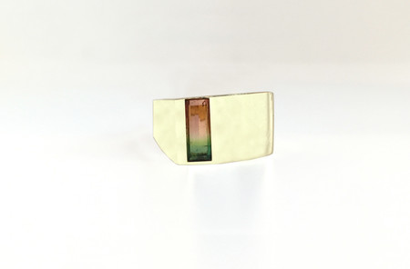 Unisex Legier Watermelon Tourmaline Verical Cut Signet Ring
