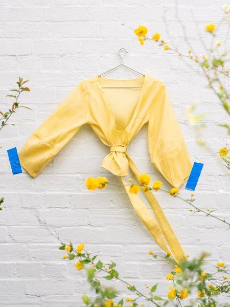 FME Apparel Lantern Wrap Top - Honeysuckle/Lemon/Black