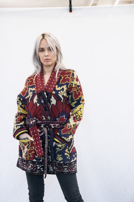 Pierre Louis Mascia Knit Intarsia Jacquard Robe