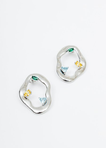 DEPARTMENT Colour Cell Division Earring - White Gold