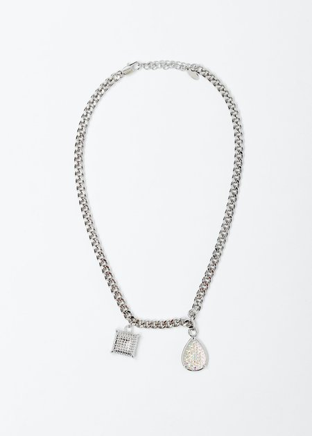 DEPARTMENT Square And Water Drop Necklace - White Gold
