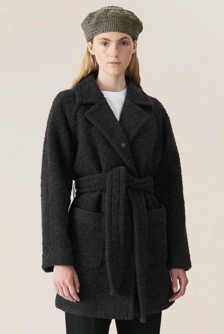 Ganni Boucle Wool Wrap Coat - Phantom