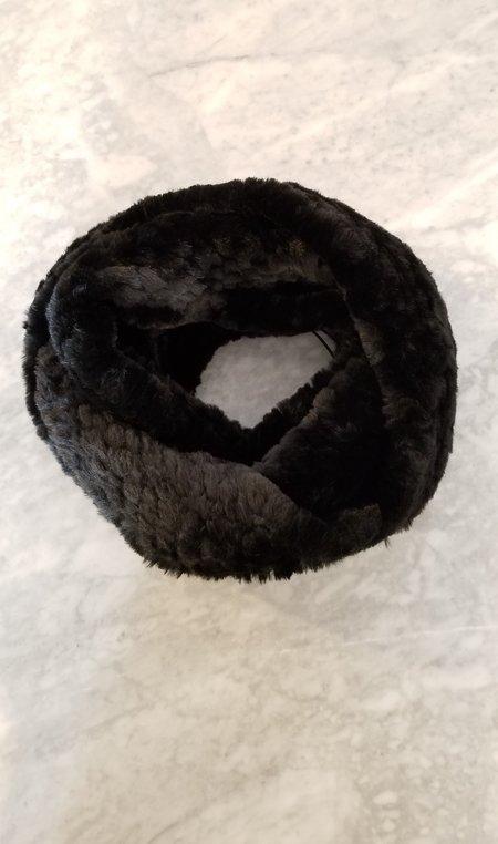 Jocelyn Fur Knitted Faux Fur Infinity Scarf - Black