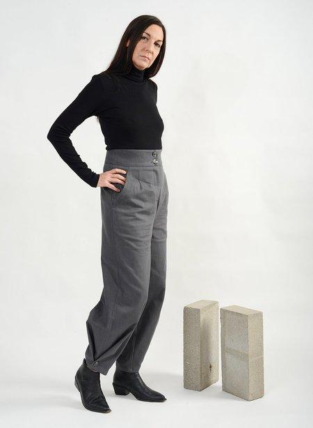 Meg High Waisted Button Jean - Grey