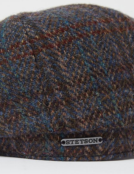 Stetson Hats Hatteras Harris Tweed III Flat Cap - Brown/Blue