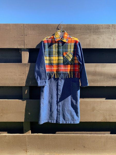Carleen Harris Duster With Fringe Overlay - Red/Yellow Plaid