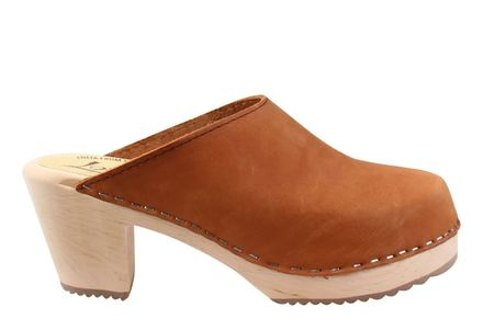 Lotta from Stockholm High Heel Oiled Nubuck Classic Clog - Brown