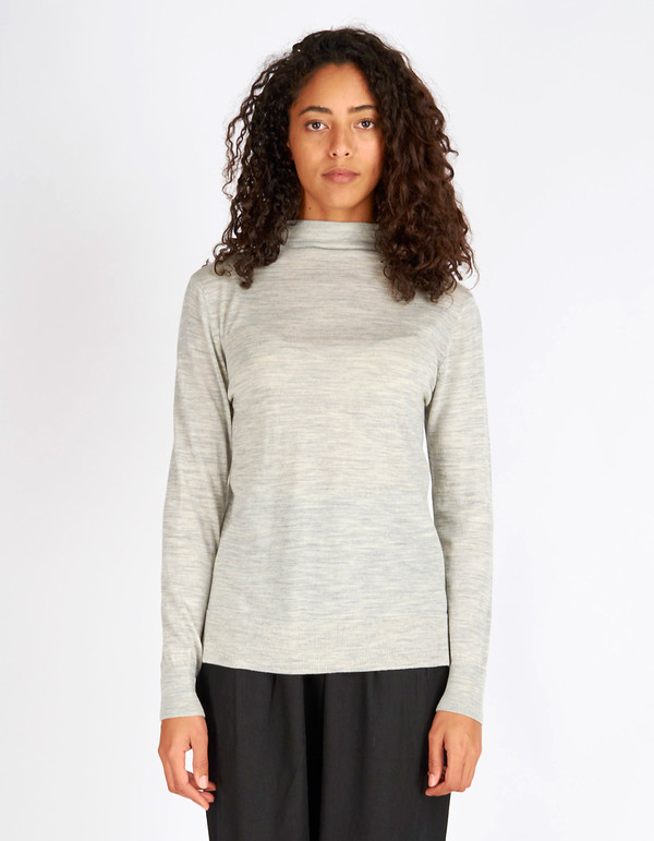 Selected Femme Mero New LS Knit T-Neck Pullover Light Grey Melange