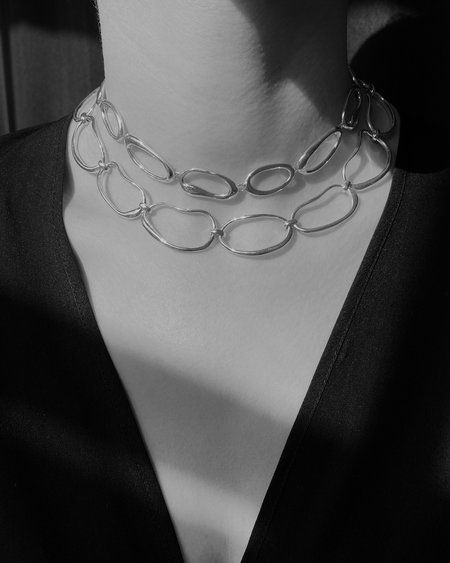 Modern Weaving Hand Formed Oval Link Collar Necklace - Sterling Silver