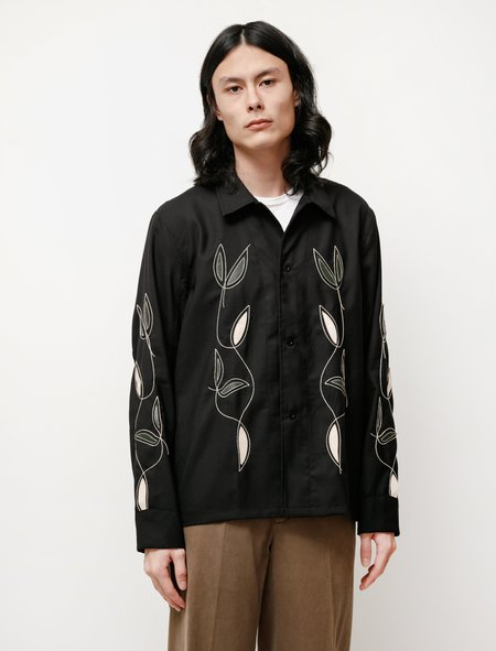 Our Legacy Box Leaf Embroidery Shirt - Black