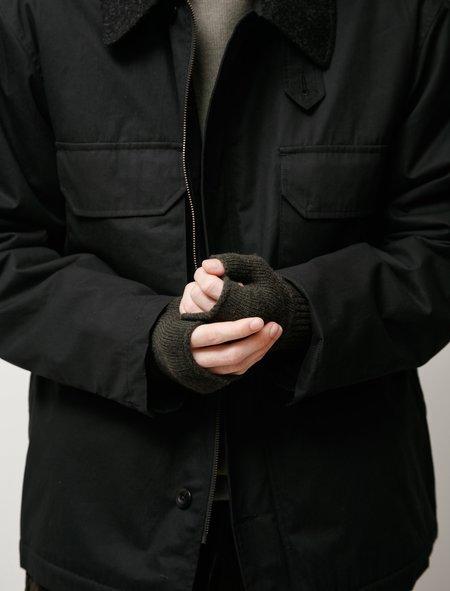 Margaret Howell MHL Felted Shetland Fingerless Glove - Dark Olive