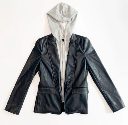 Central Park West Aspen Faux Leather Blazer - Black