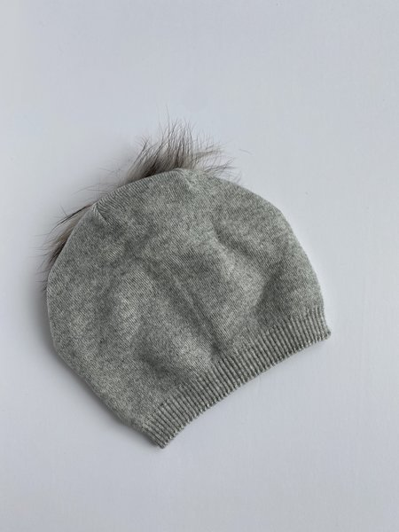 Equation Kelsey Slouchy Pom Hat - Heather Gray