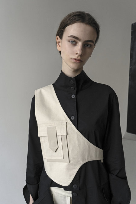 UNISEX K M by L A N G E ASYMMETRICAL VEST - OFF WHITE