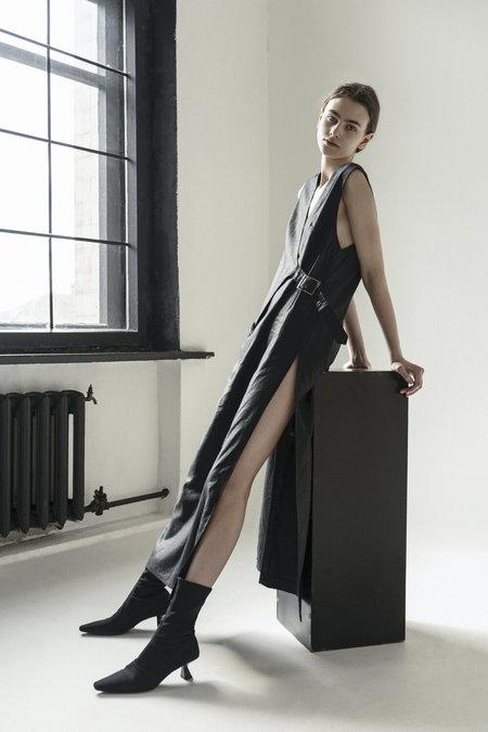 K M by L A N G E HIGH SLIT DRESS - BLACK