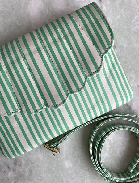 CAB Collection Shell Fanny Pack - Green / White Stripe