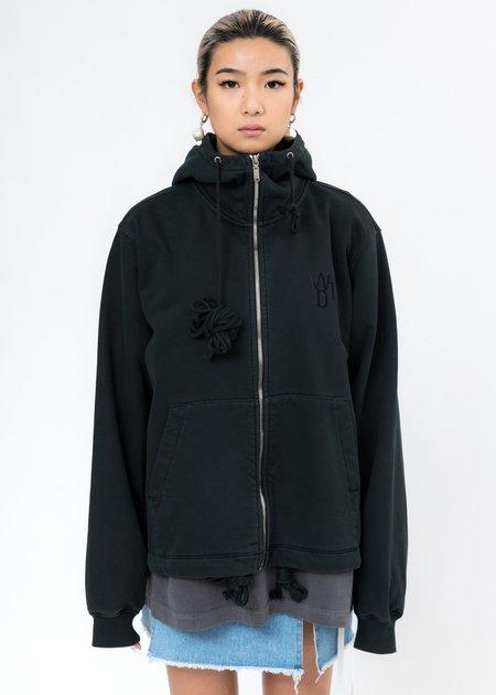 we11done Glow In The Dark Teddy Zip-Up hoodie - Dark Green
